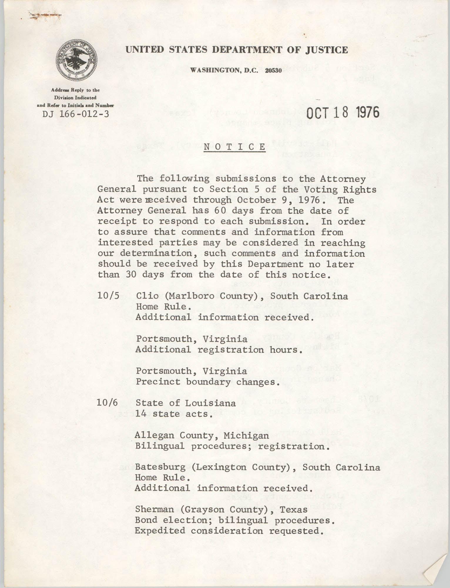 United States Department of Justice Notice, October 18, 1976