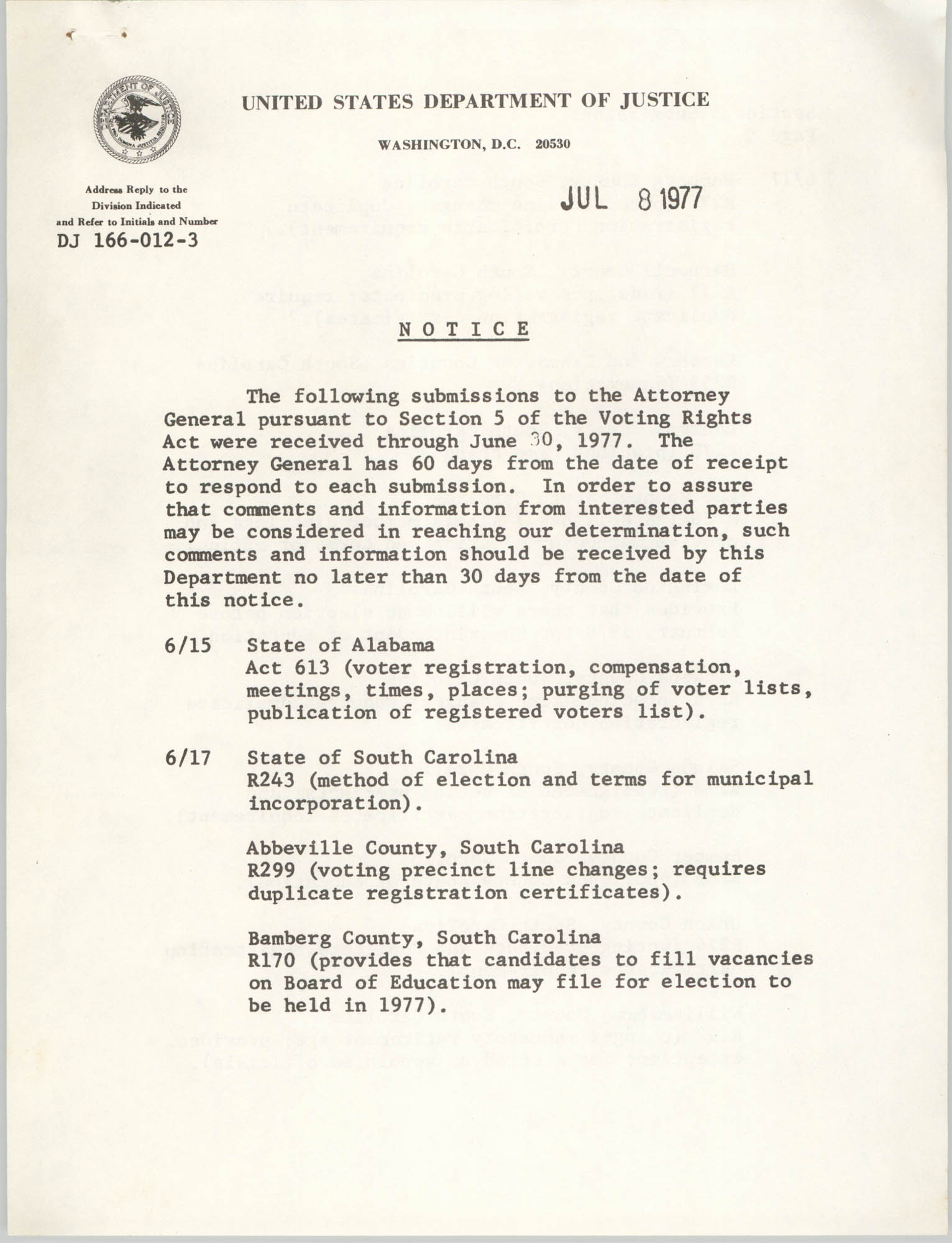 United States Department of Justice Notice, July 8, 1977