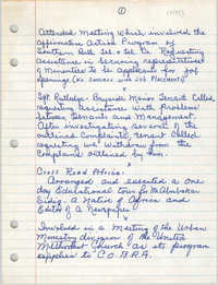 Handwritten Meeting Notes, 1975