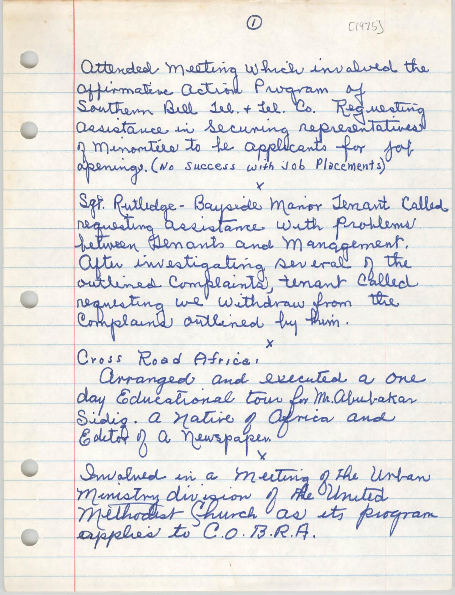 Handwritten Meeting Notes, 1975