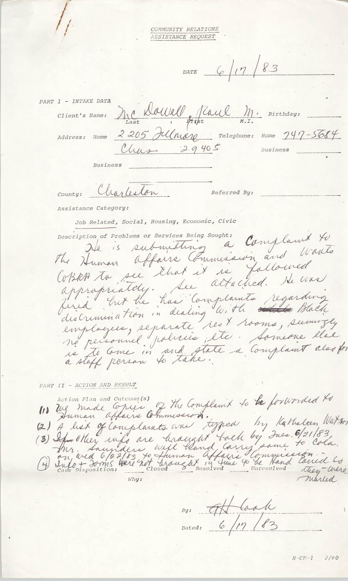 Community Relations Assistance Request, June 17, 1983