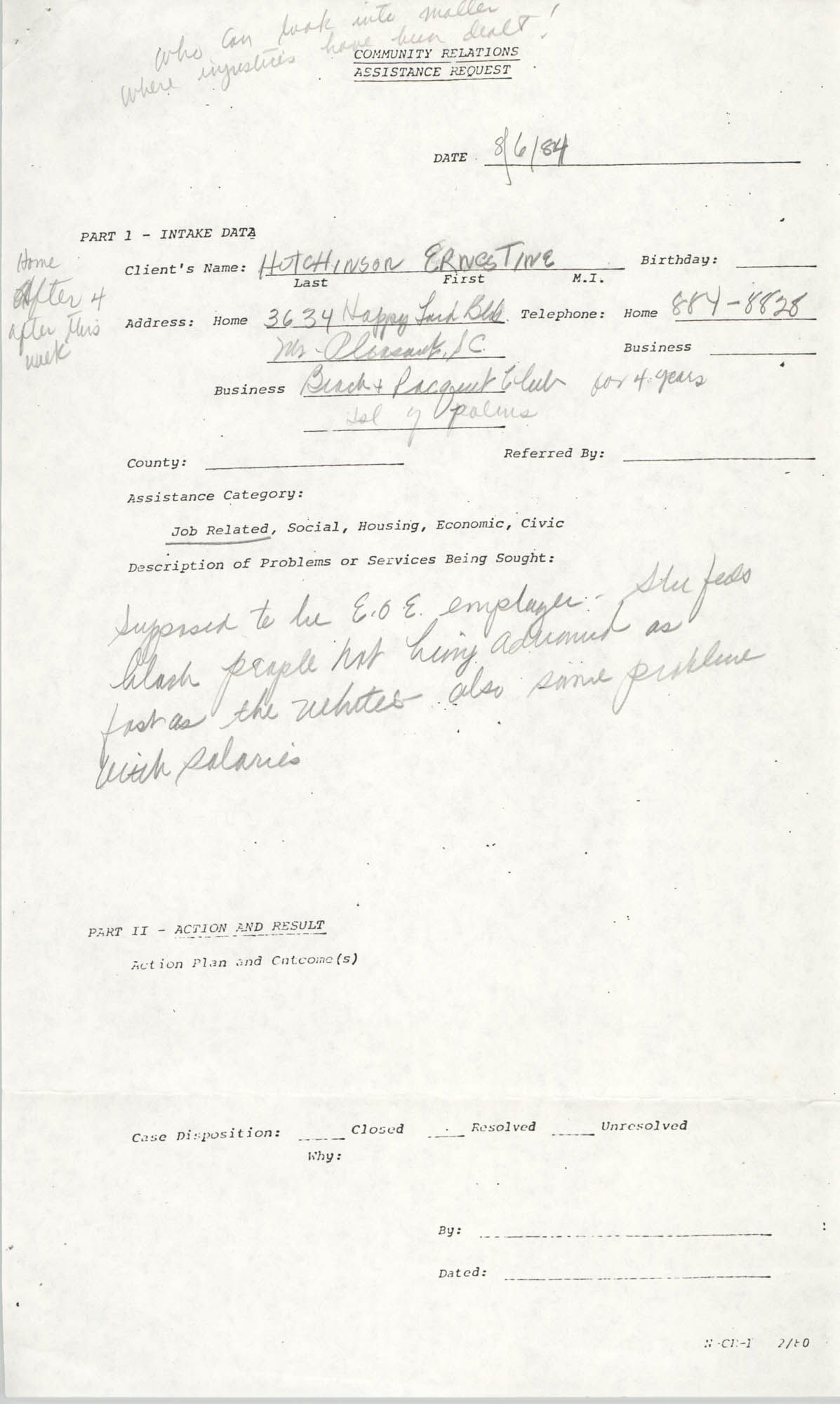 Community Relations Assistance Request, August 6, 1984
