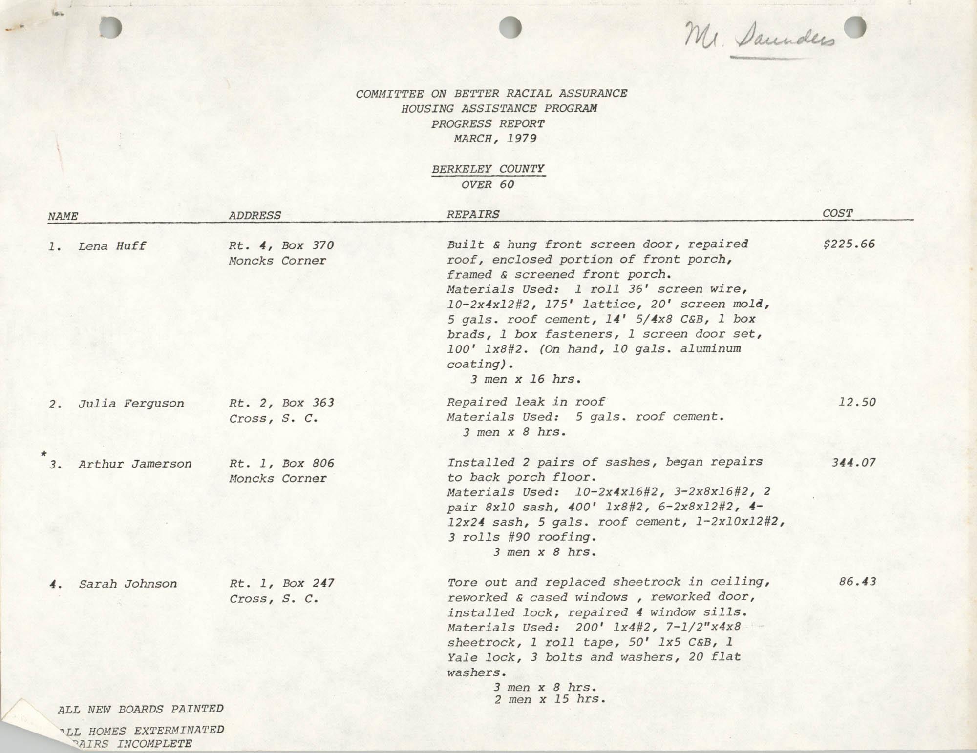 COBRA Housing Assistance Program Progress Report, March 1979