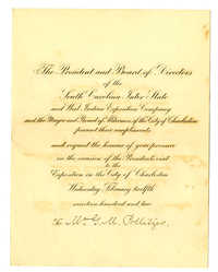 Program for the Charleston Exposition Banquet honoring President Roosevelt