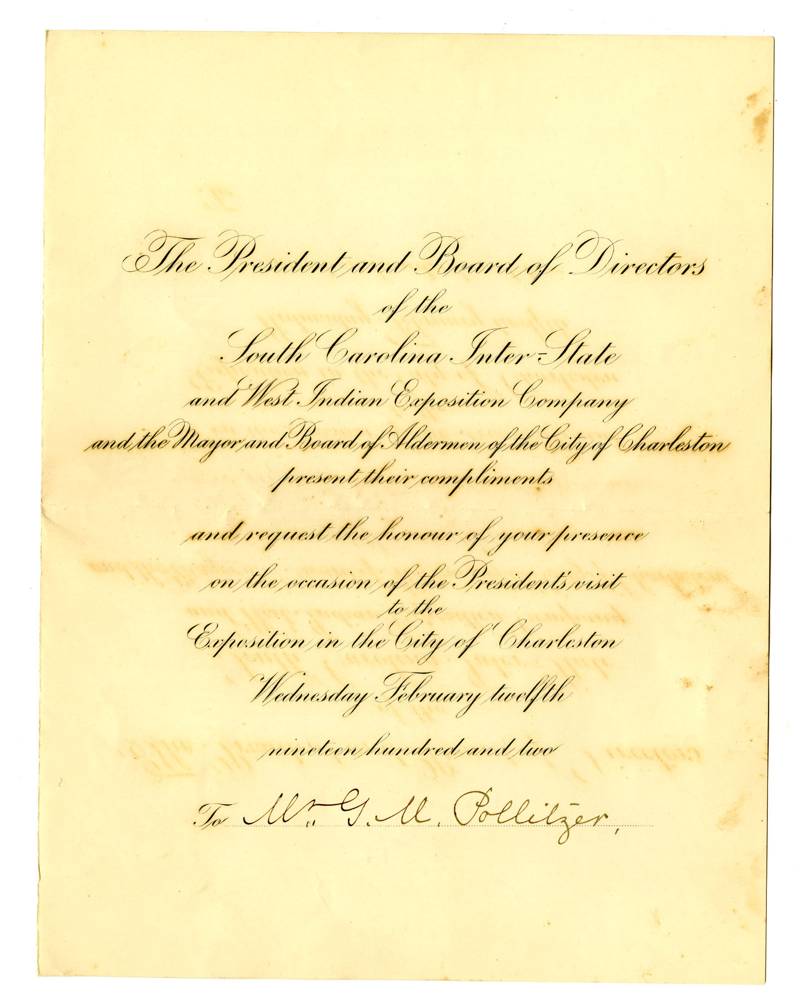 Program for the Charleston Exposition Banquet honoring President Roosevelt