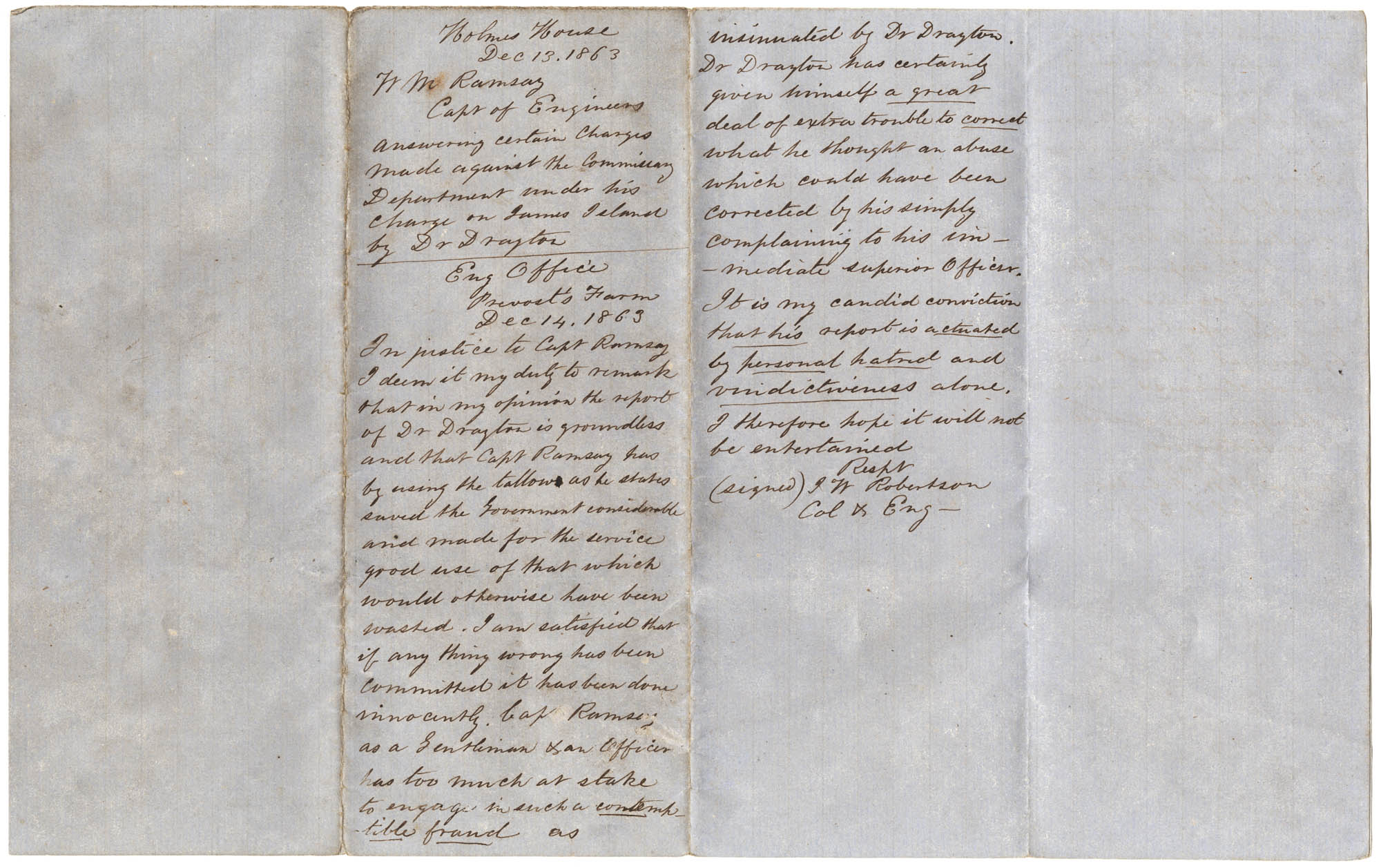 William Ramsay to D.B. Harris