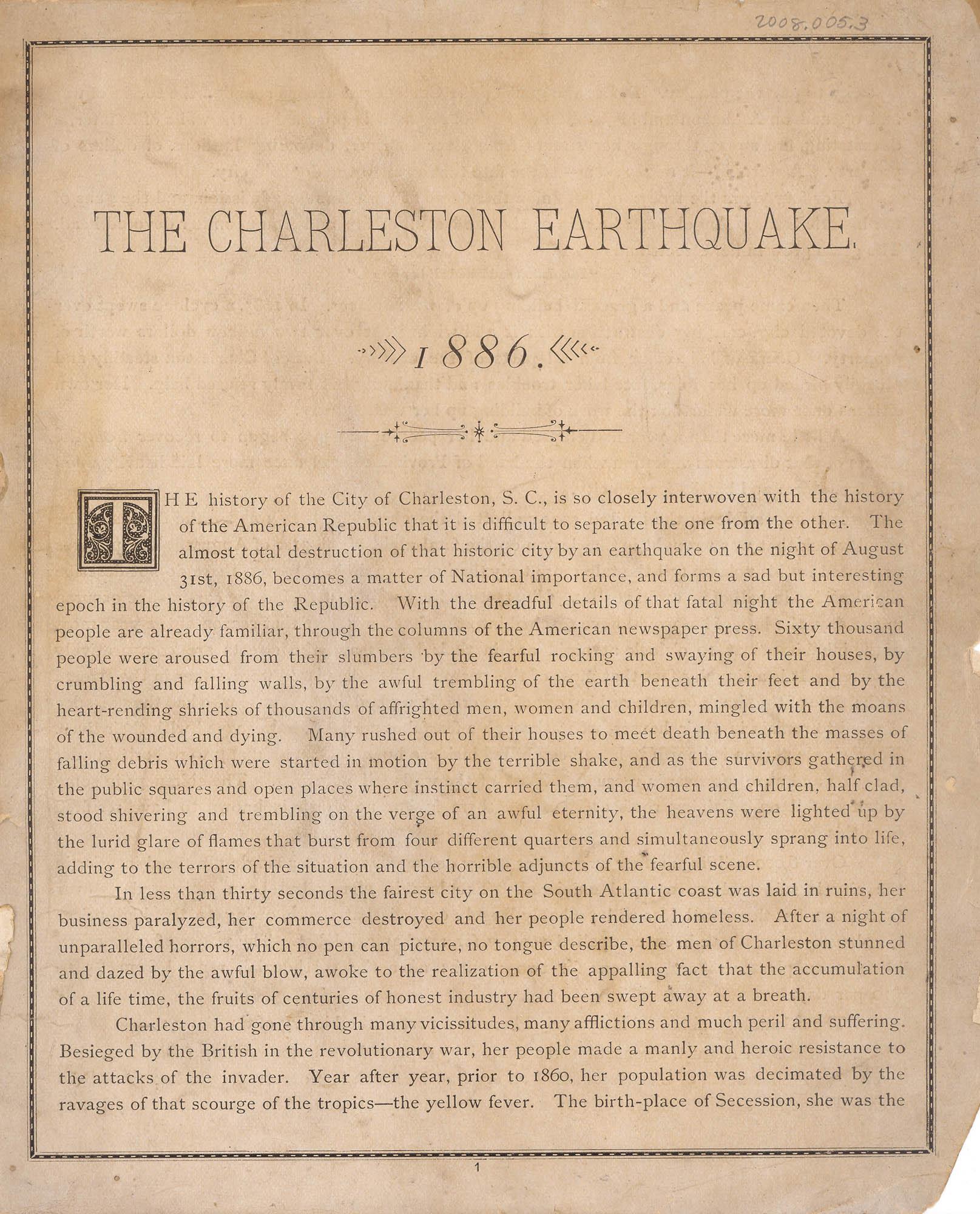 The Charleston Earthquake, 1886