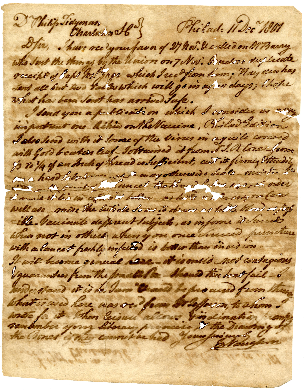John Vaughan letters to Philip Tidyman, 1801-1802