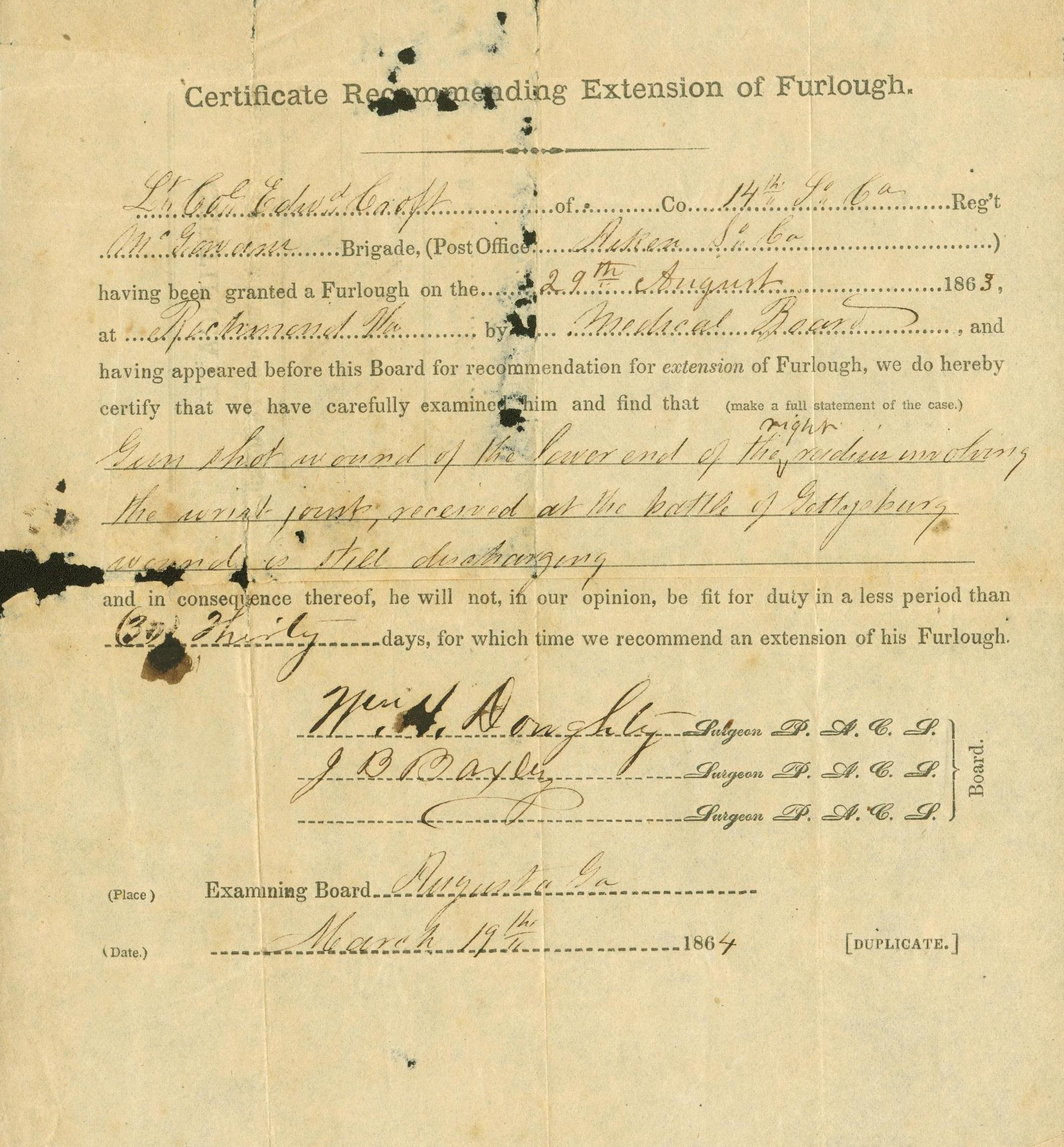 Edward Croft extension of furlough, March 19, 1864