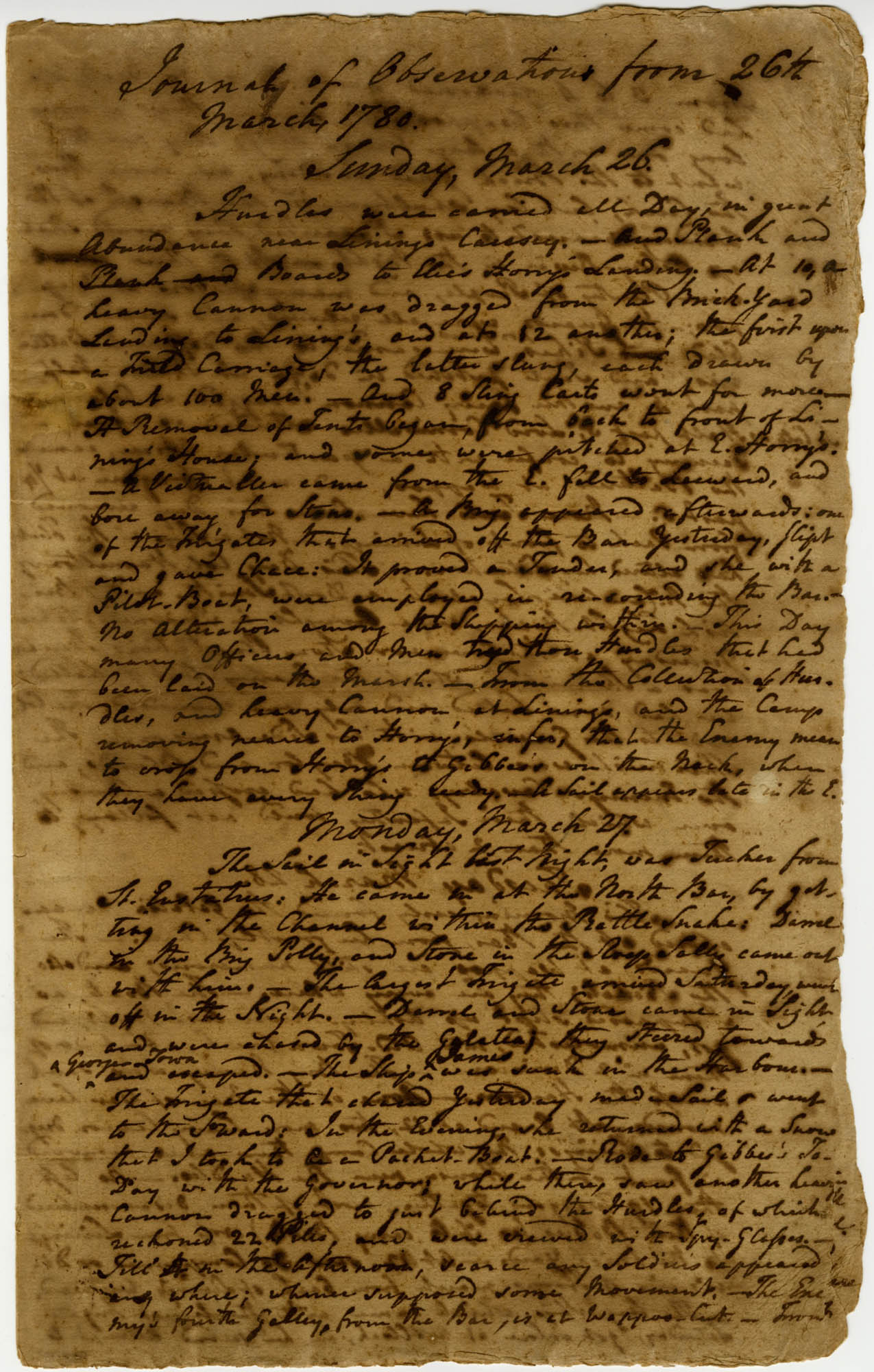 Journal of Observations, 26 March - 8 April 1780