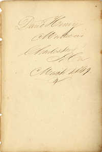 David Henry Mordecai Travel Diary (1849)