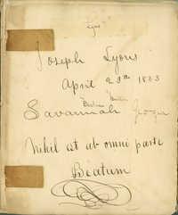 Joseph Lyons Diary (1833-1834)