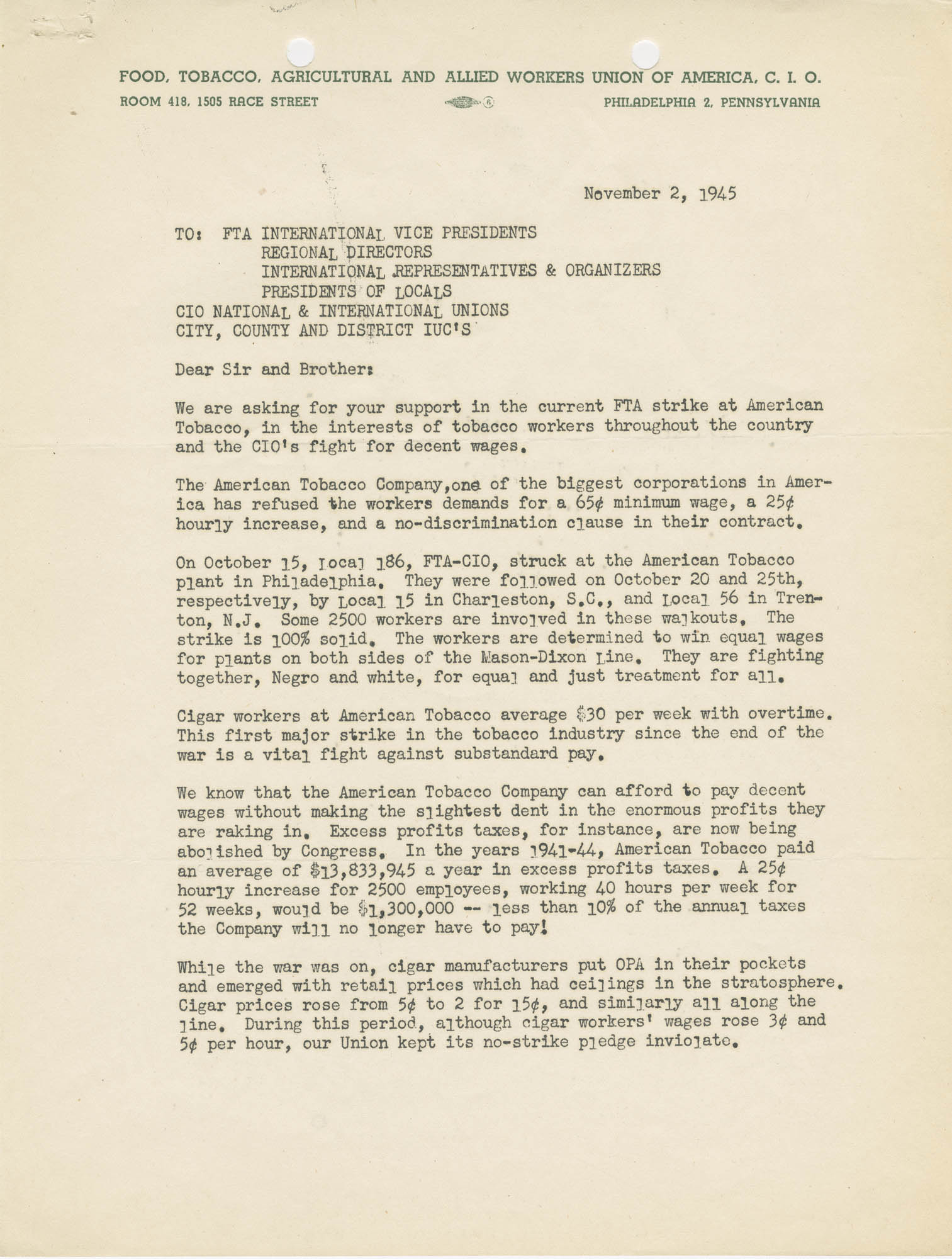 Letter from Harold J. Lane detailing strike activities against the American Tobacco Company