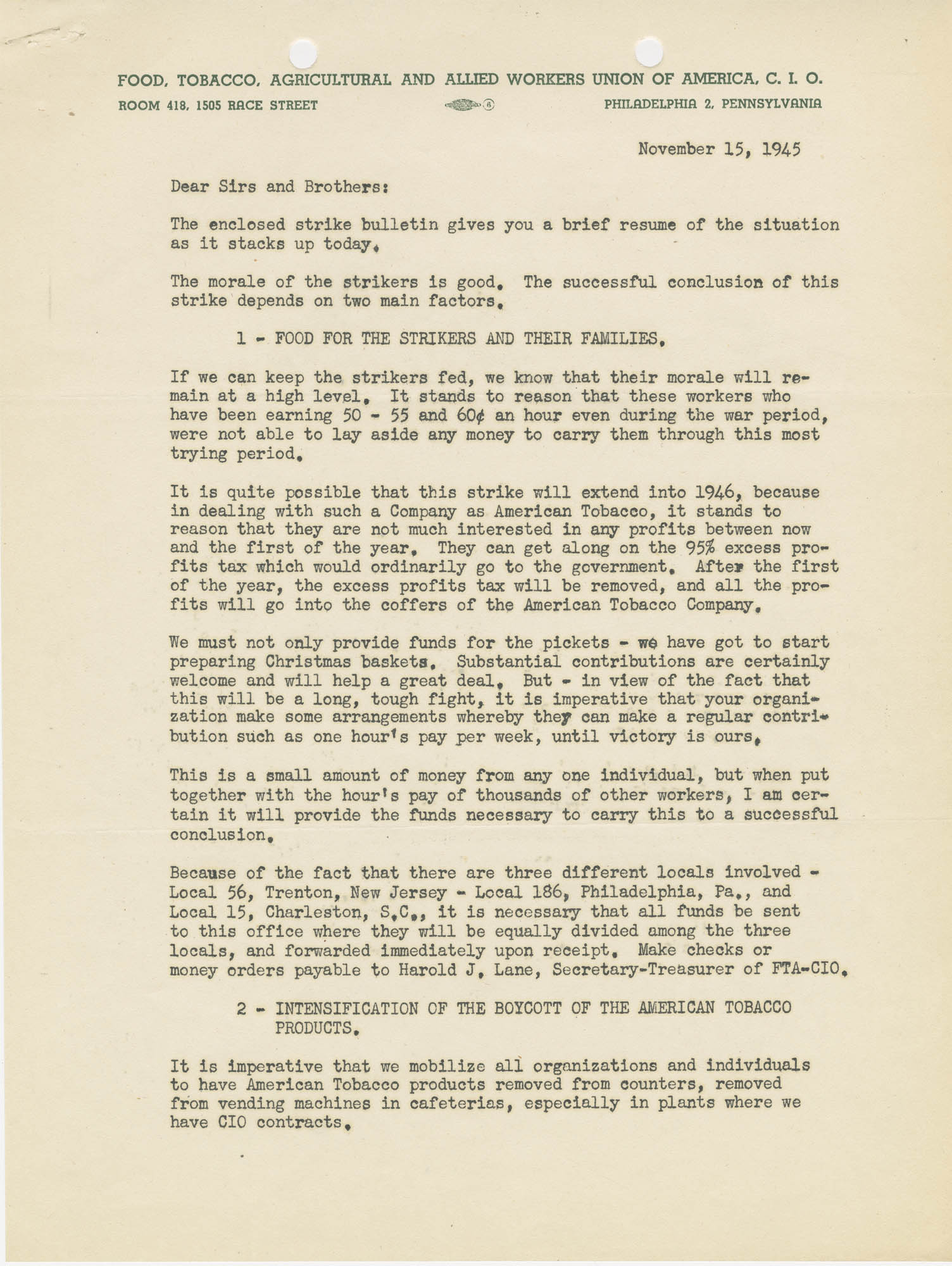 Letter from Harold J. Lane indicating needed activities in strike  against the American Tobacco Company