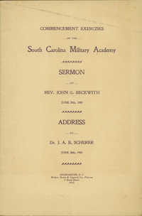Commencement Exercises of the South Carolina Military Academy. Address by Dr. J.A.B. Scherer.
