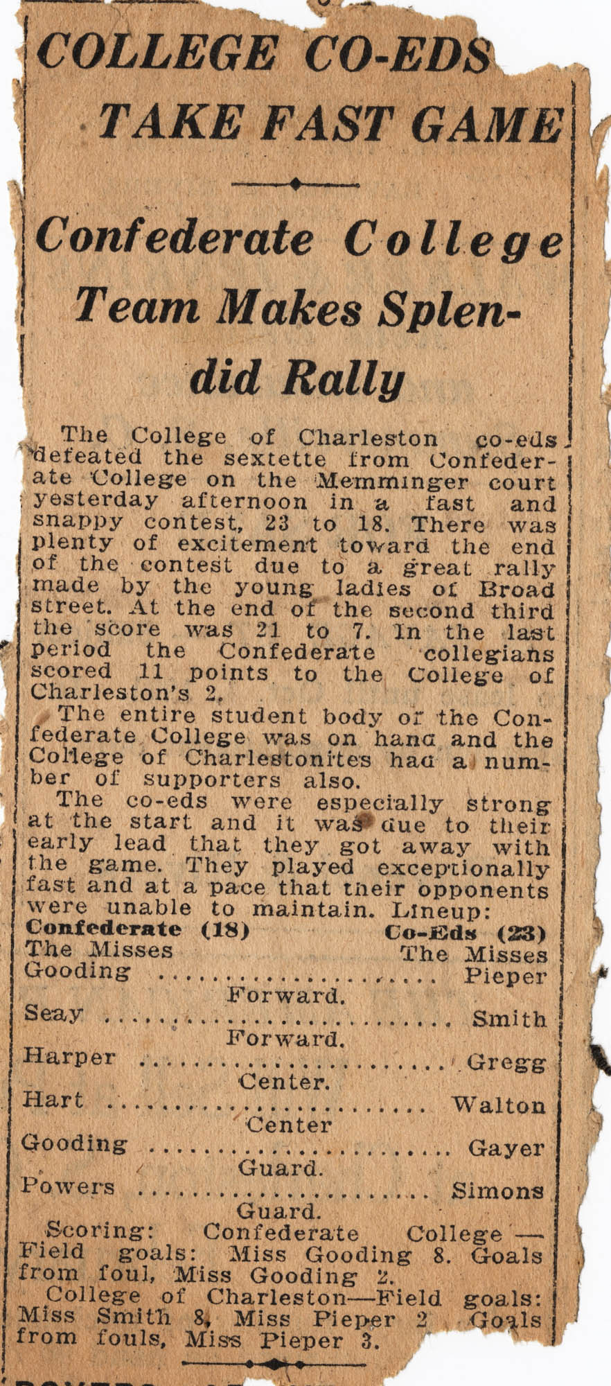 Newspaper Clippings about College of Charleston basketball