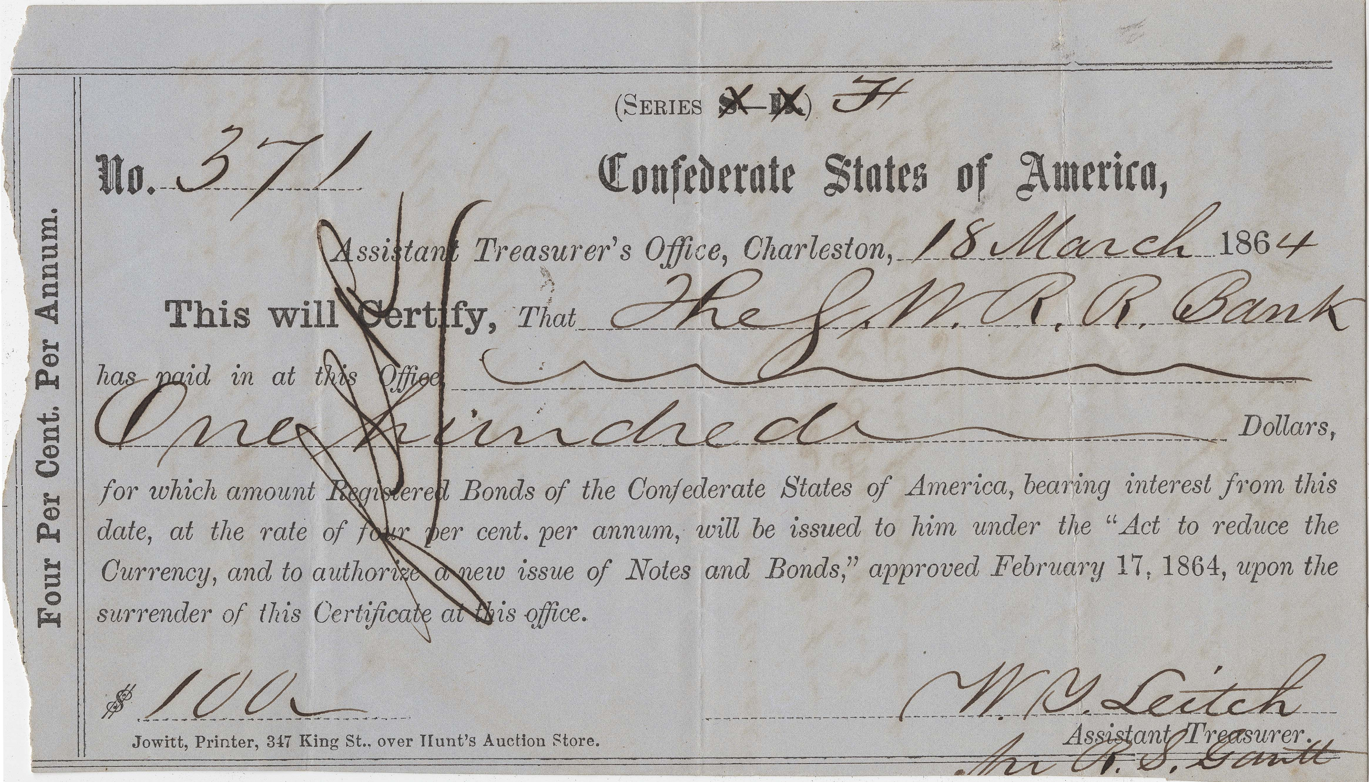 209. 3 Confederate Checks --1864
