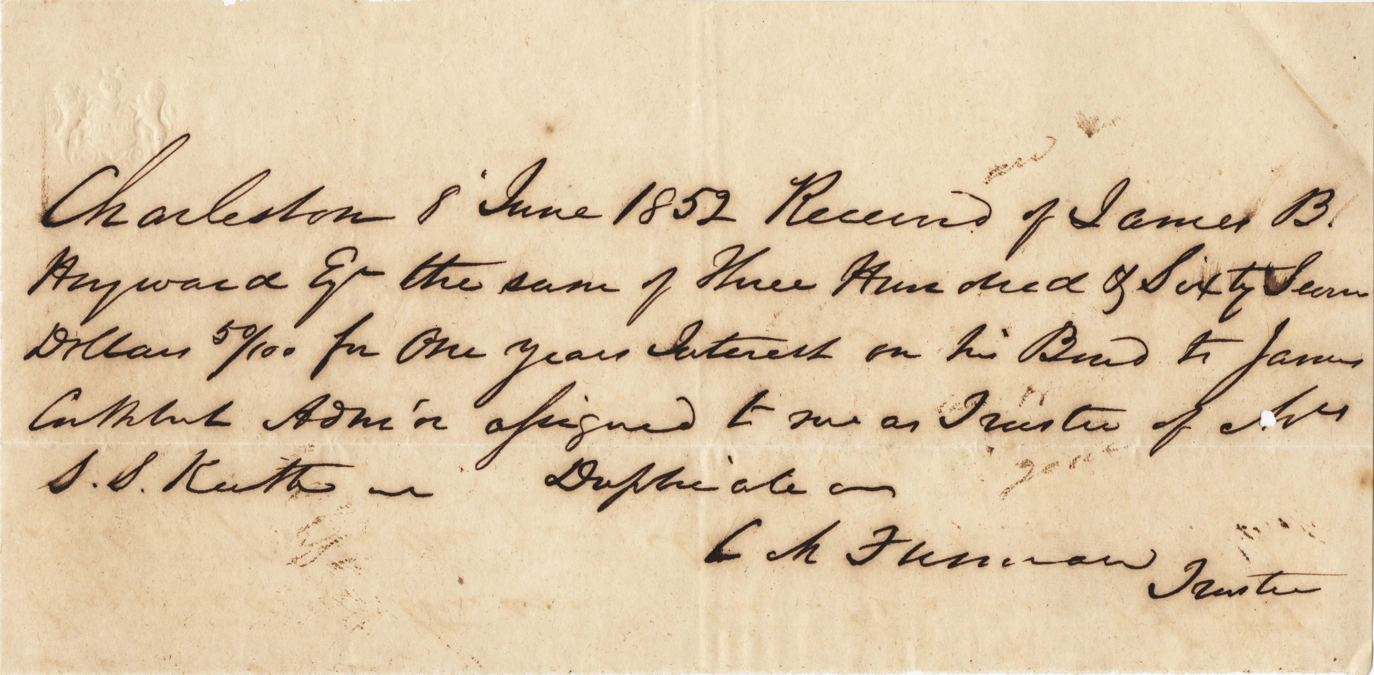 374. Miscellaneous receipts from the Heyward and Ferguson families -- 1852-1880