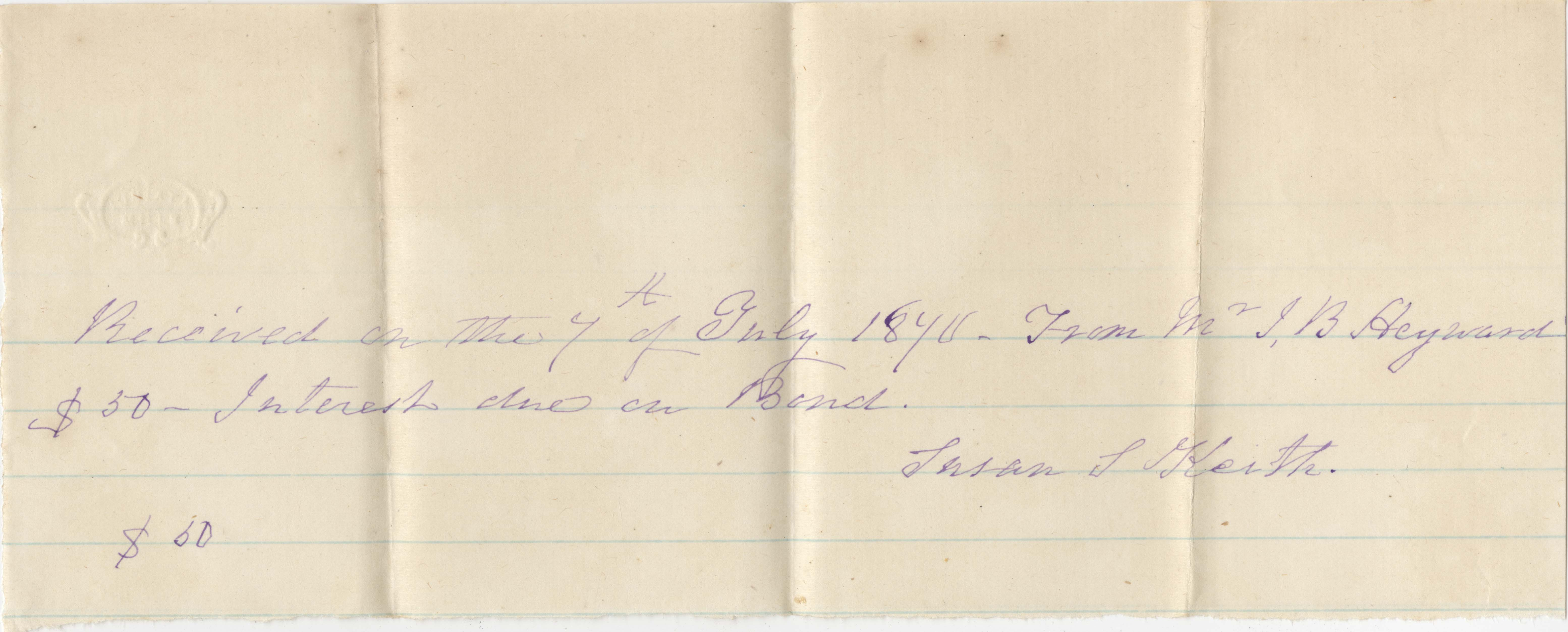 375. Receipt of monies received by Susan S. Keith from James B. Heyward -- 1840(?) -1873