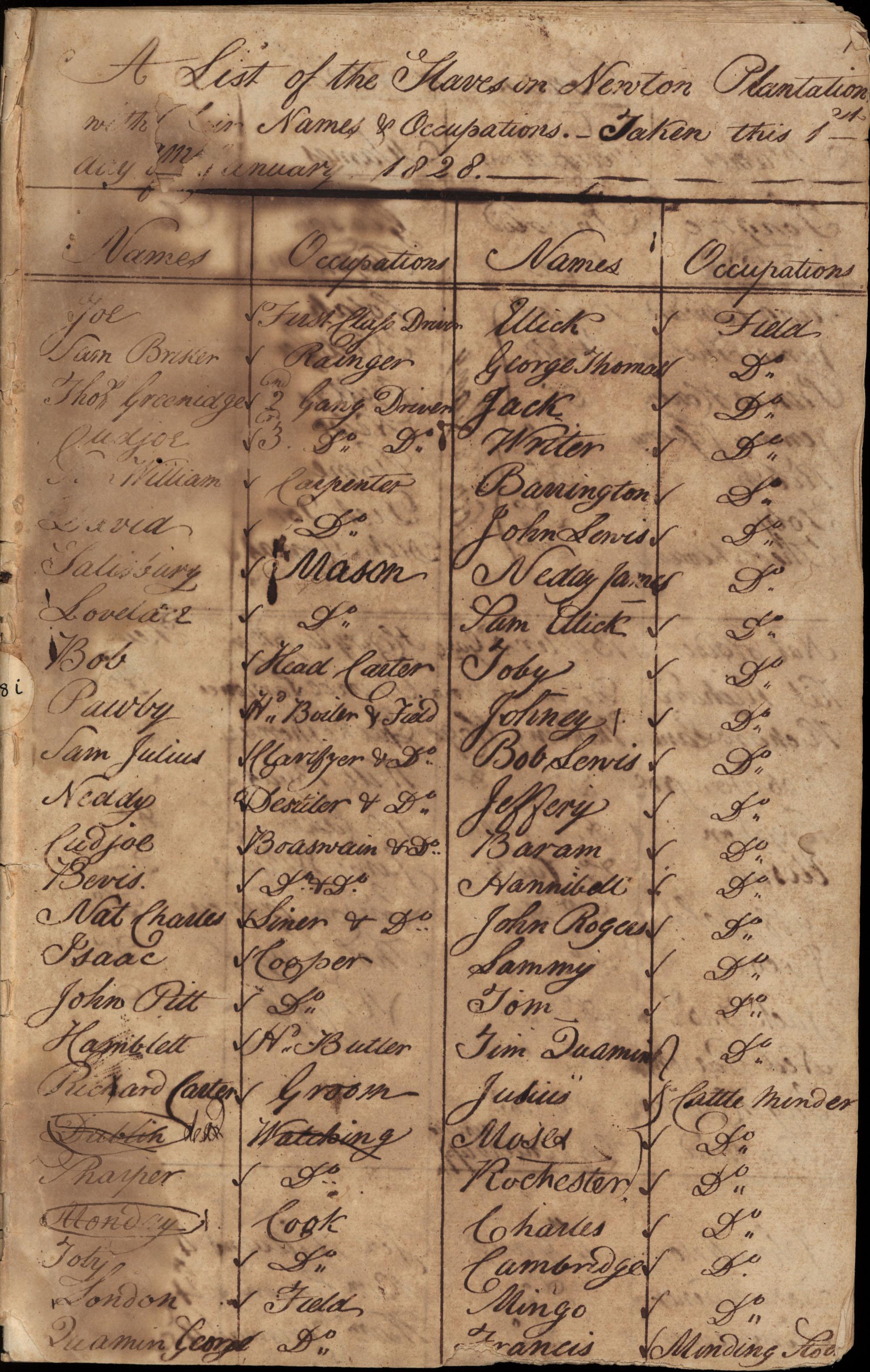 Newton Plantation Slave List 1828