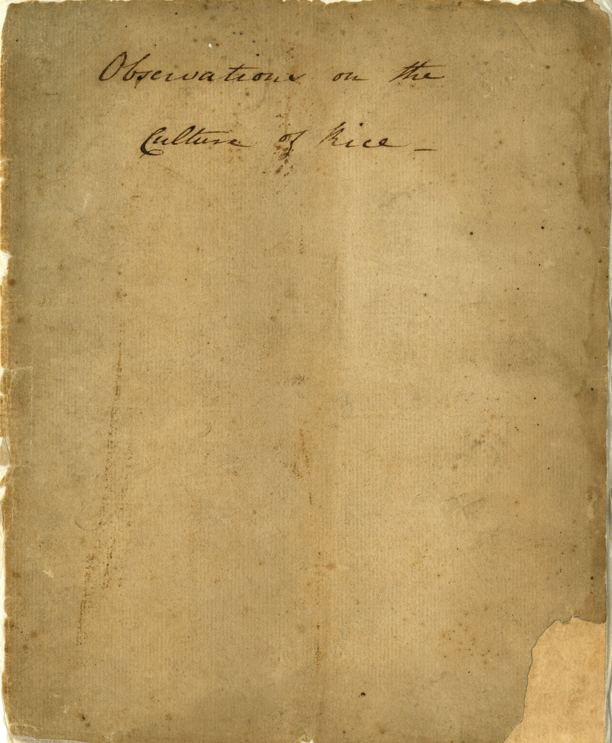 Observations on the culture of rice, ca. 1786.