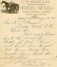R.P. Hamer business letters, 1887