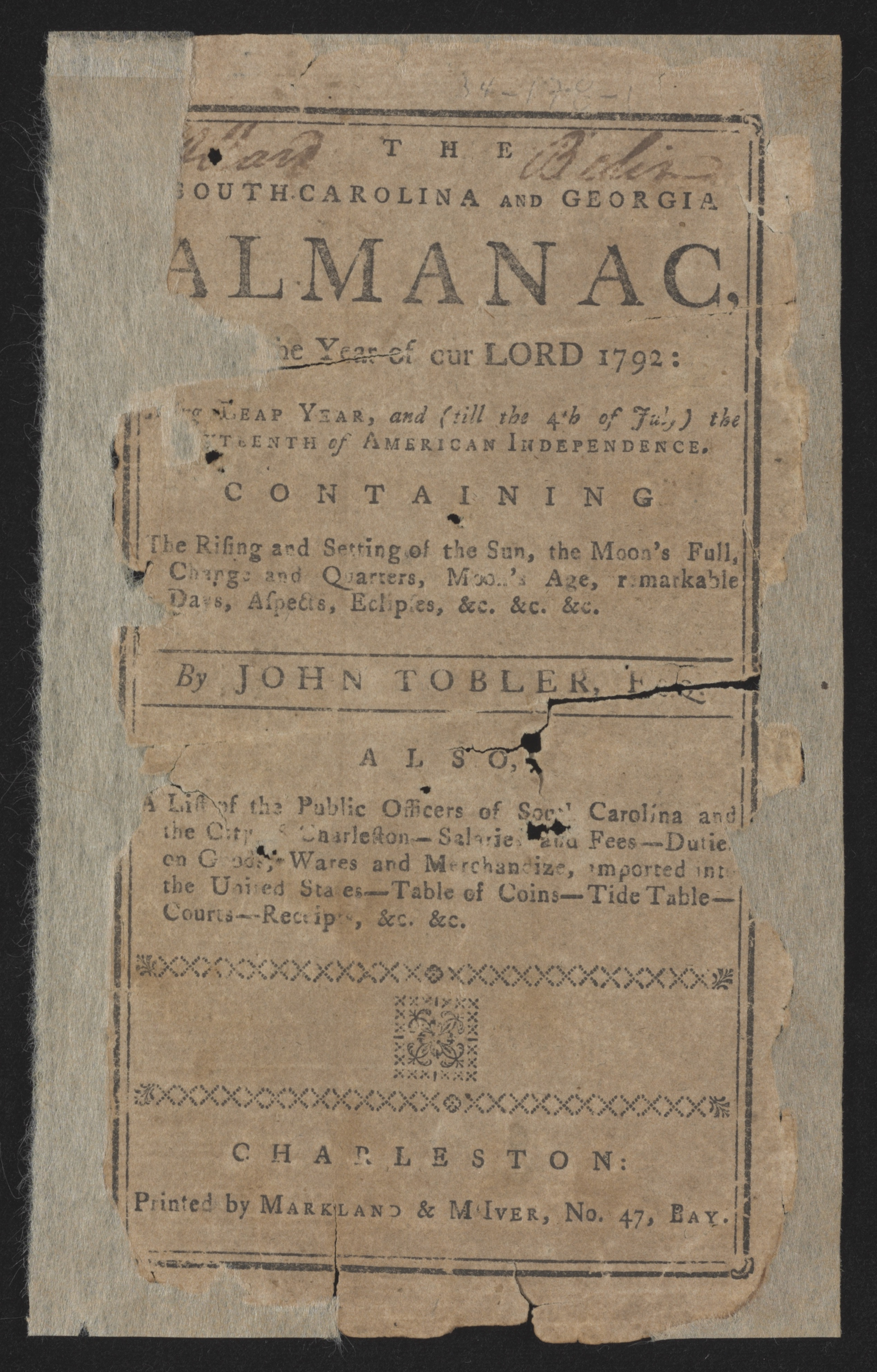 Sandy Island Plantation Journal, Volume 1, 1792, Cover