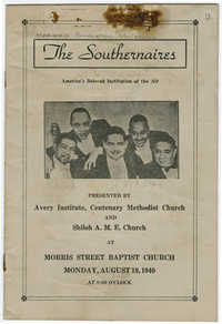 Program for a concert by The Southernaires