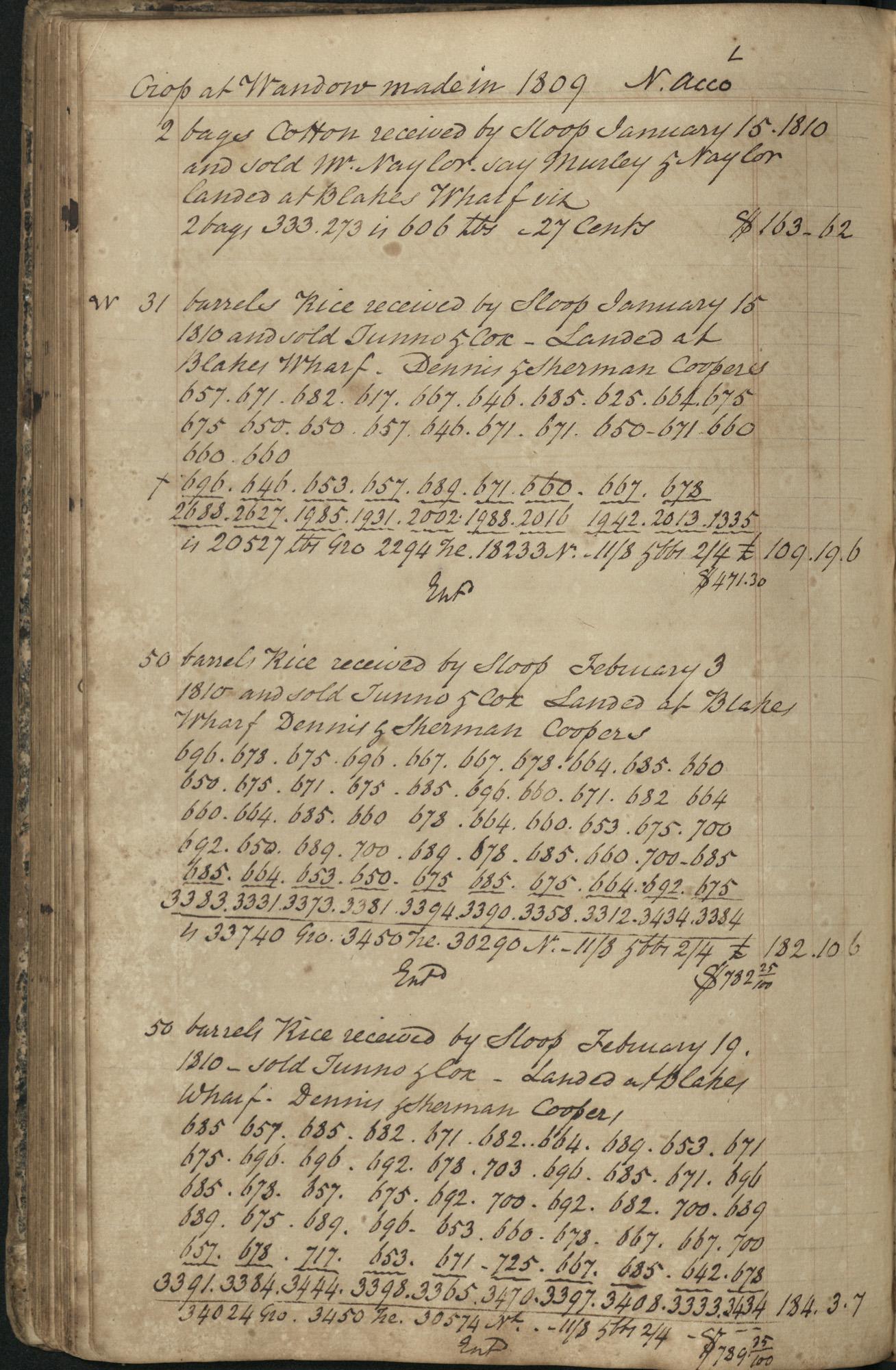 Plowden Weston's Plantation Journal, page 104