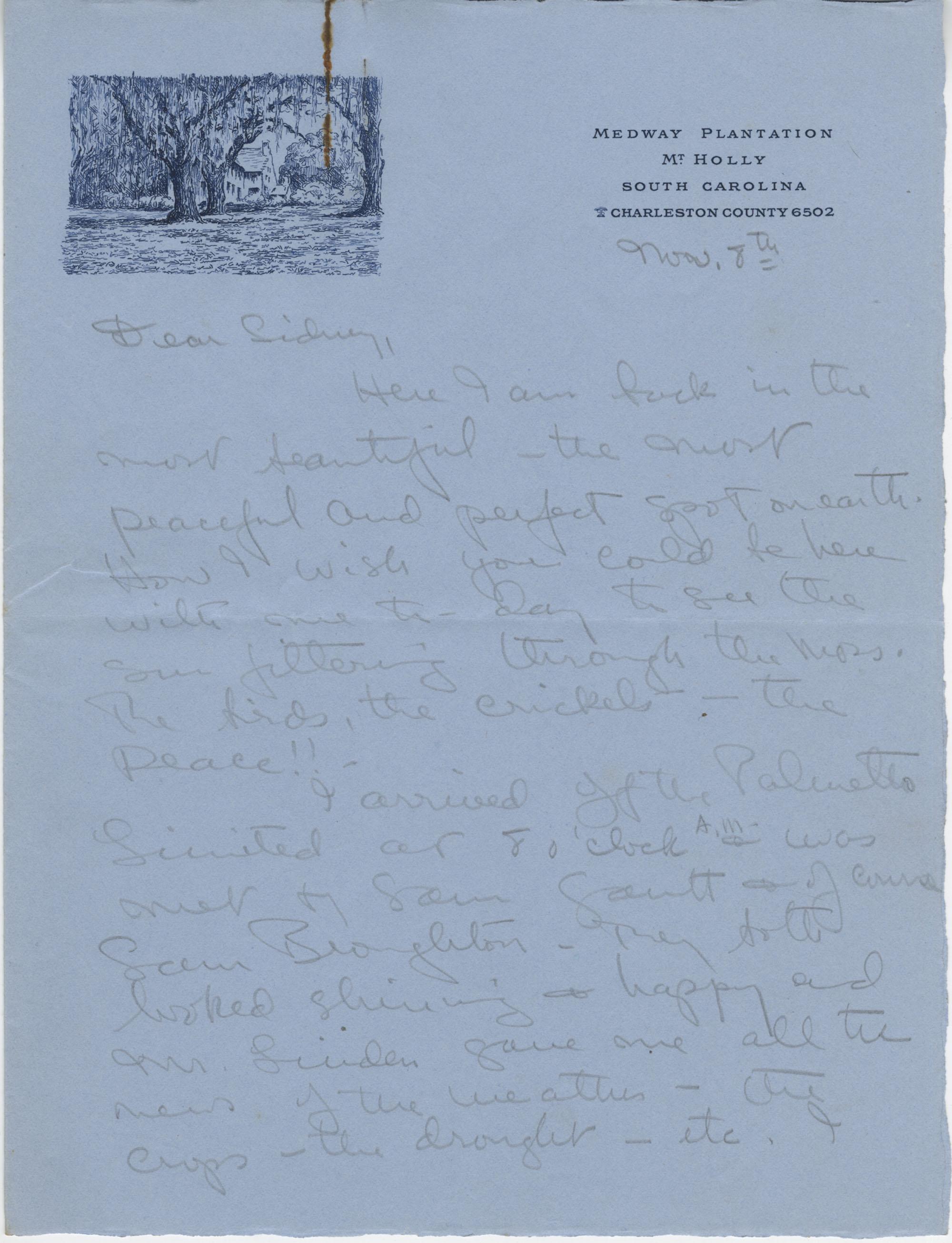 Letter from Gertrude Sanford Legendre, November 8, 1942