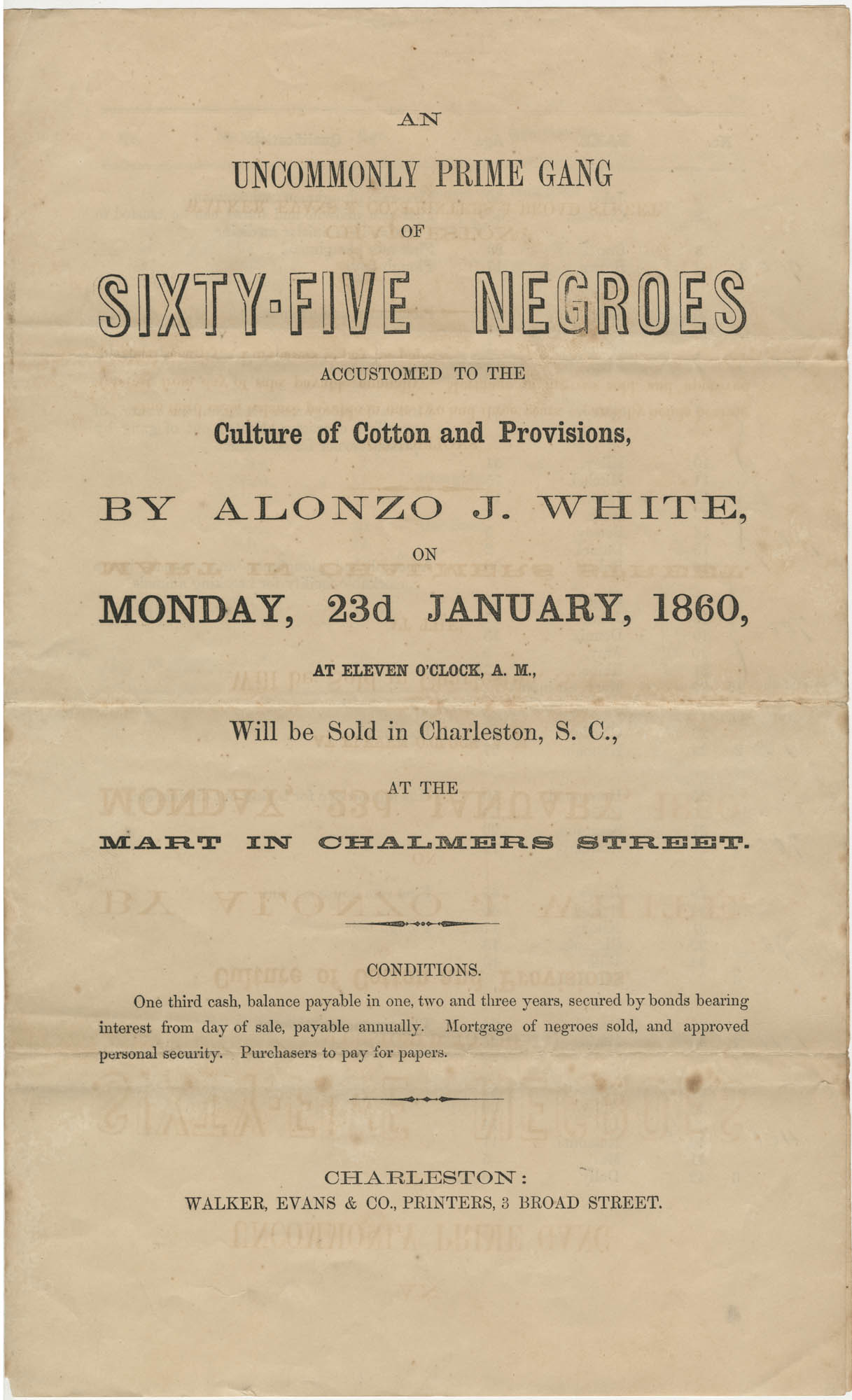 Alonzo White slave sale broadside