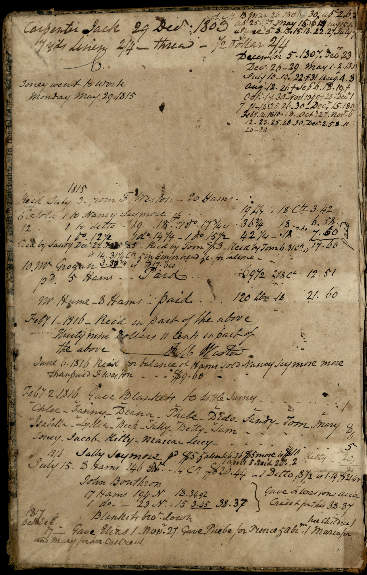 Plowden Weston's Plantation Journal, back-to-front page 1