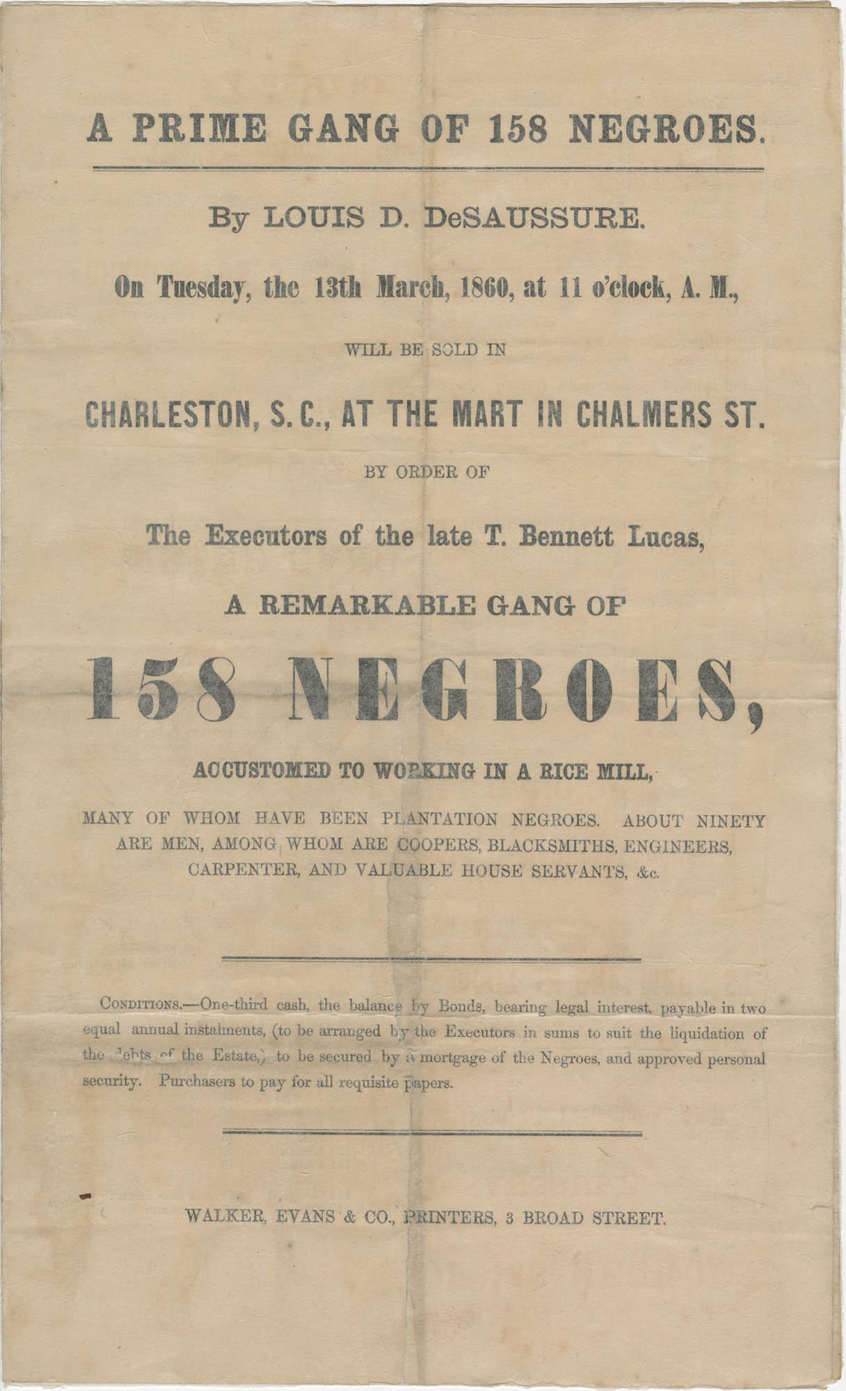Louis D. DeSaussure slave sale broadside