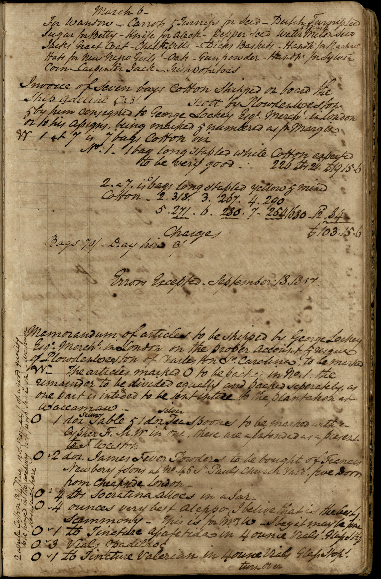 Plowden Weston's Plantation Journal, back-to-front page 10