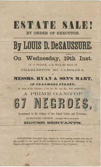 Louis D. DeSaussure slave sale broadside
