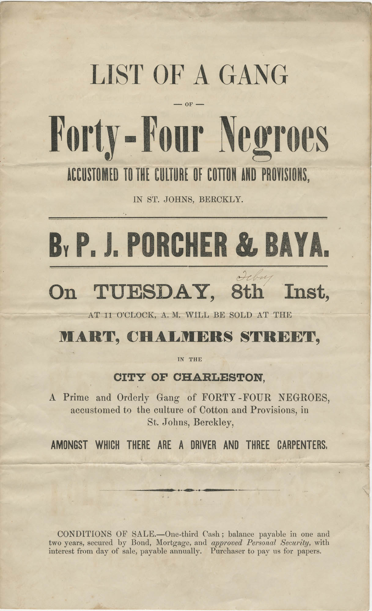 P.J. Porcher and Baya slave sale broadside