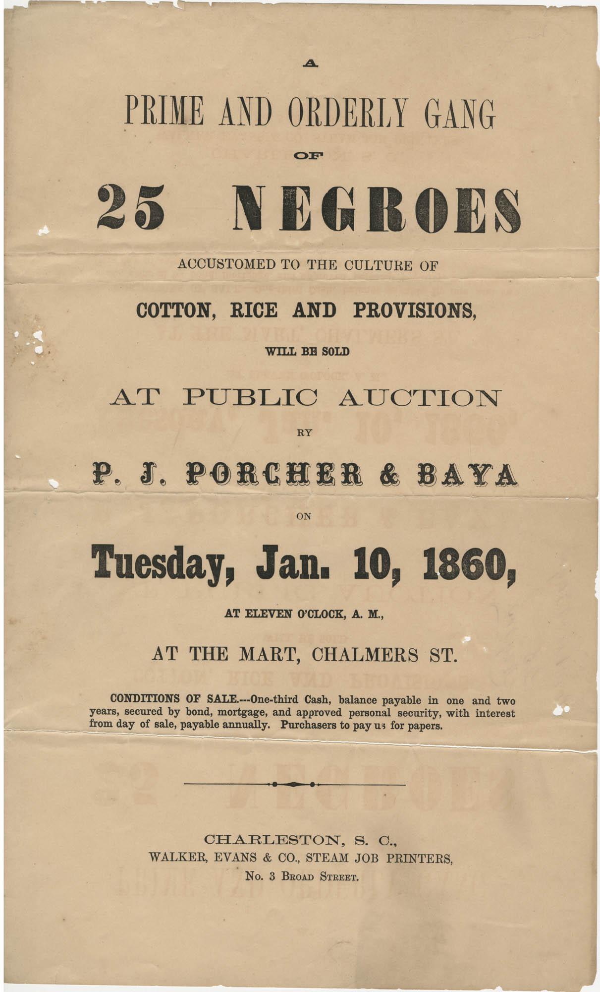 P.J. Porcher and Baya slave sale broadside