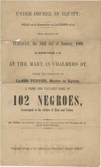 Read, et al. Executors, vs Laurens, et al. slave sale broadside