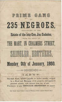 Shingler Brothers slave sale broadside