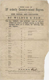 Wilbur and Son slave sale broadside