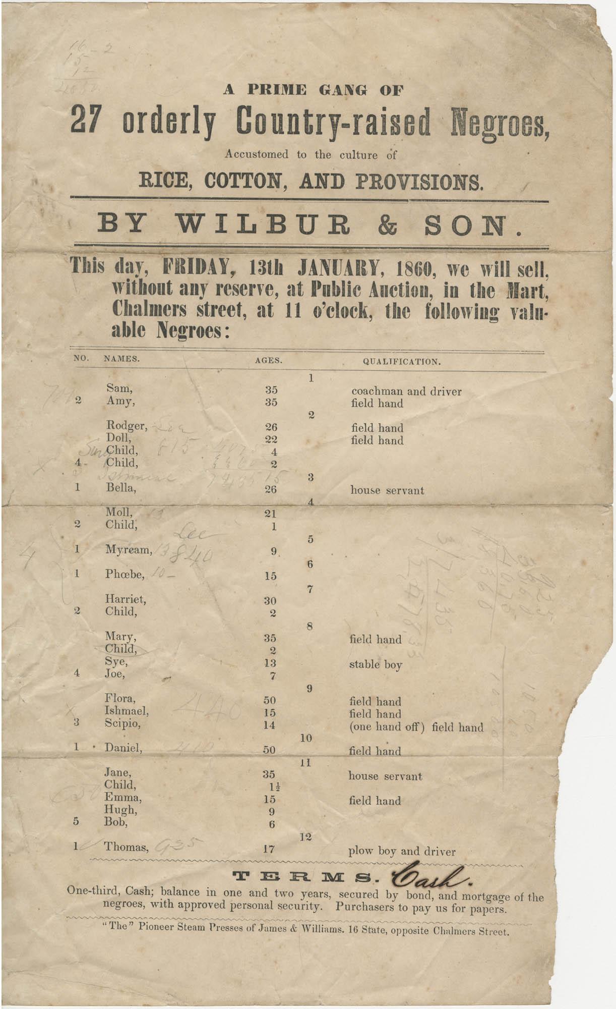 Wilbur and Son slave sale broadside