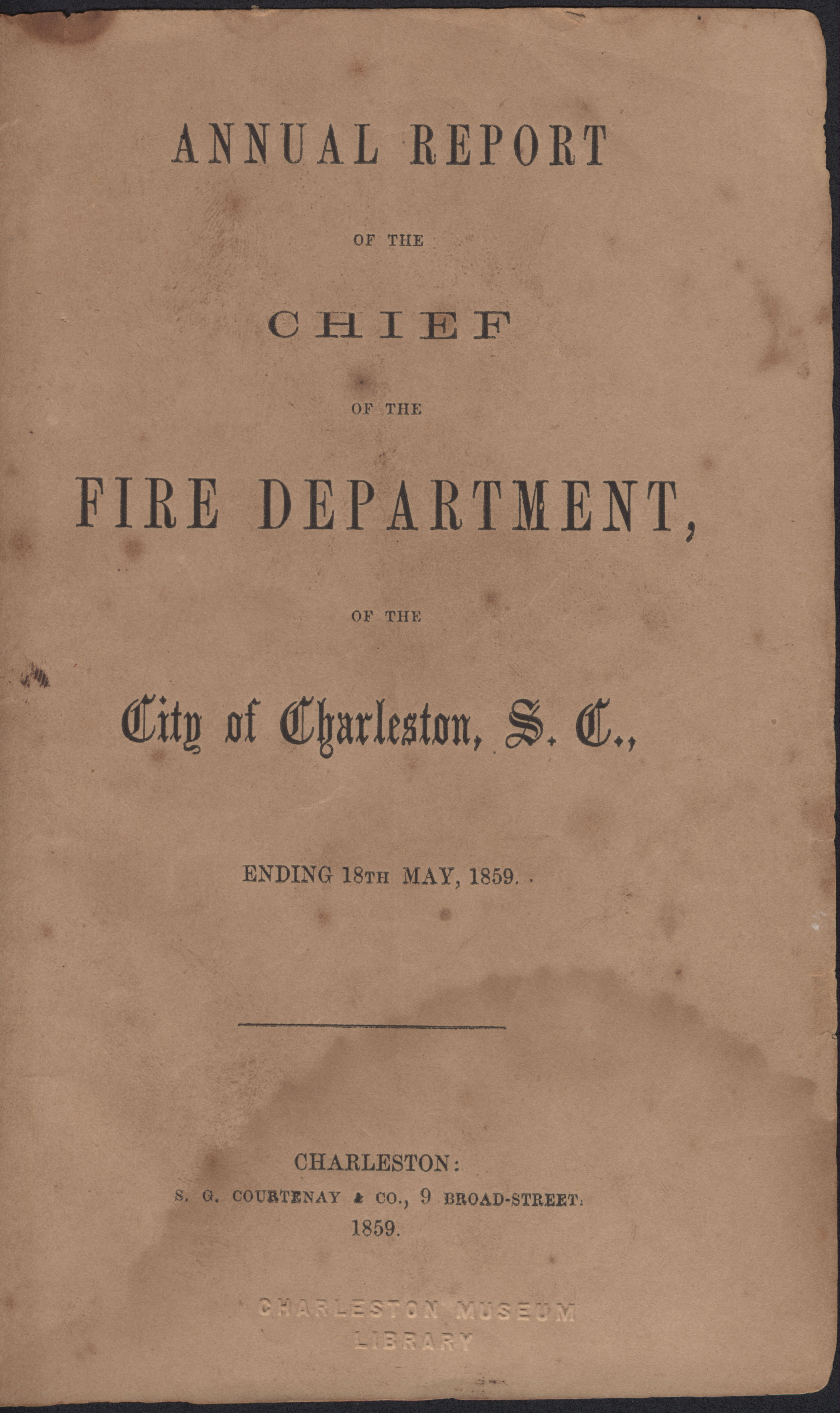 Annual Report of the Chief of the Fire Department of the City of Charleston, page 1