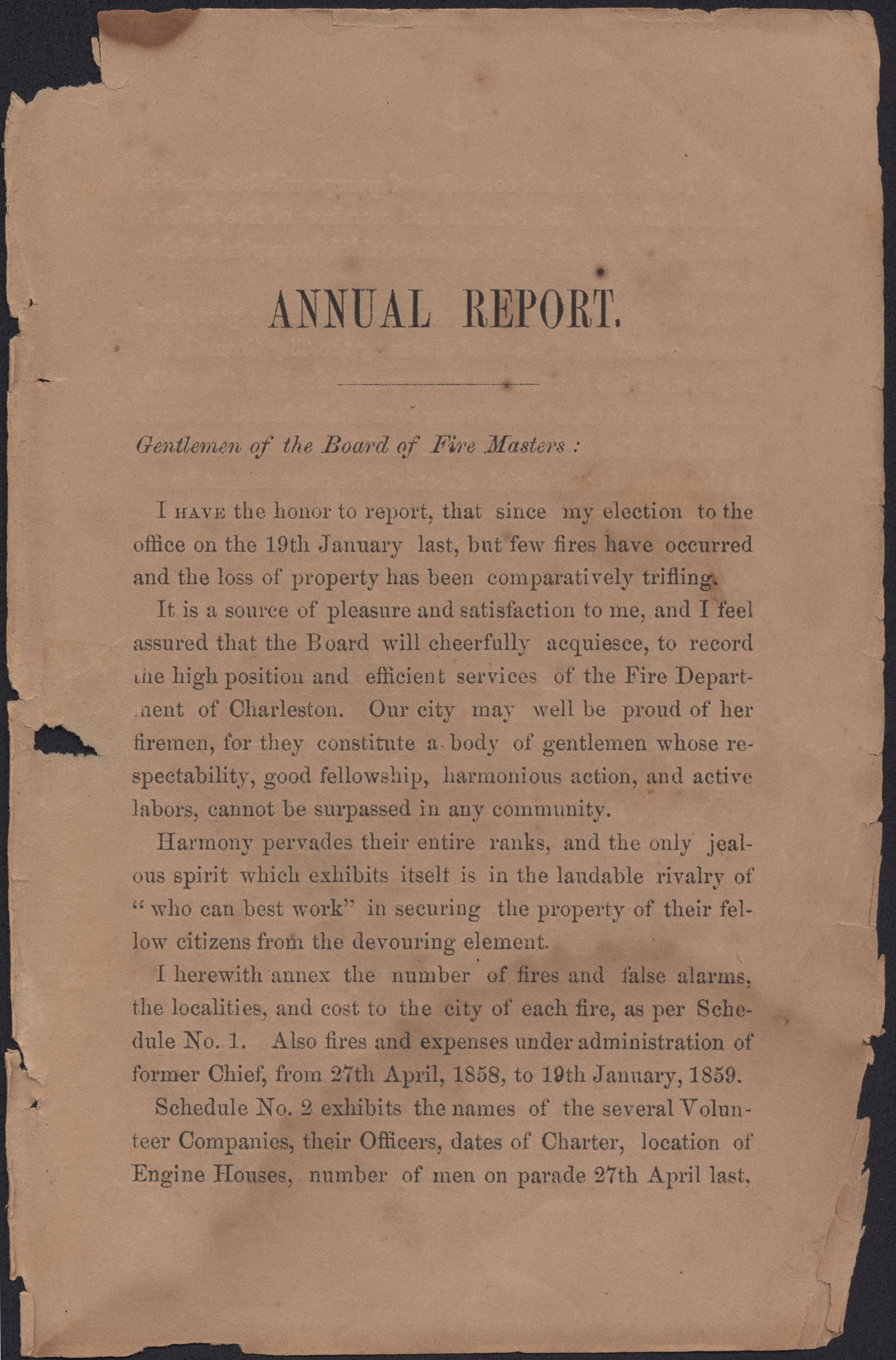 Annual Report of the Chief of the Fire Department of the City of Charleston, page 3