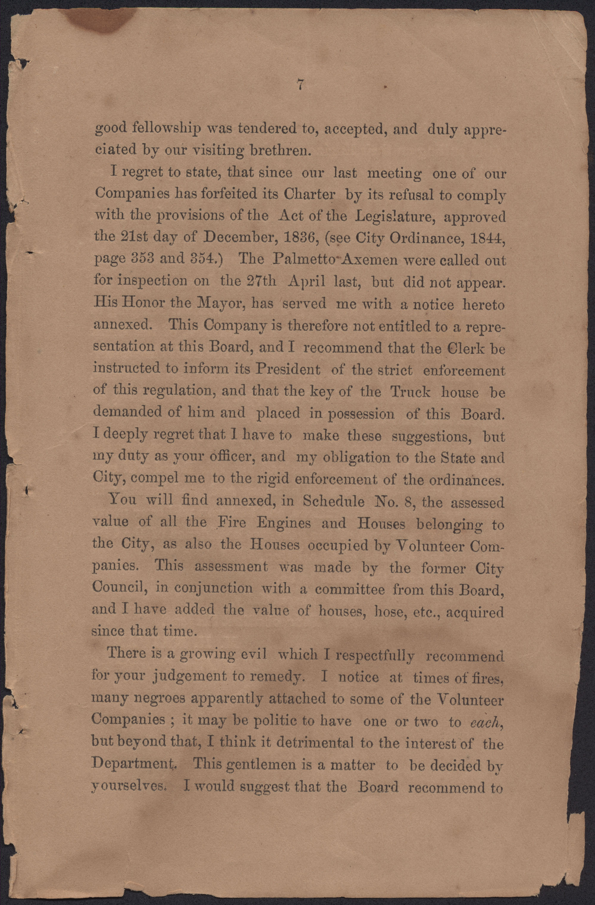 Annual Report of the Chief of the Fire Department of the City of Charleston, page 5