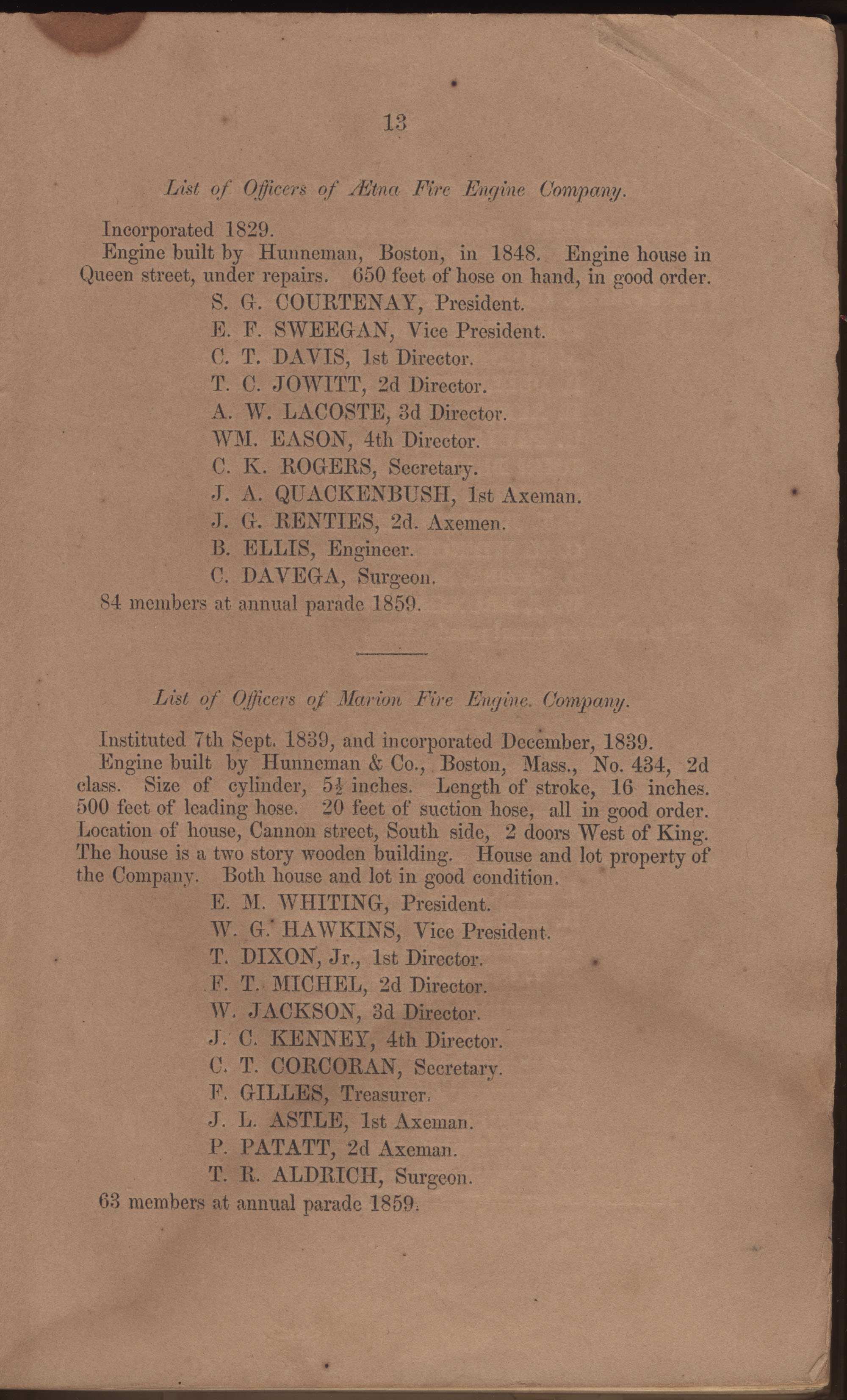 Annual Report of the Chief of the Fire Department of the City of Charleston, page 11
