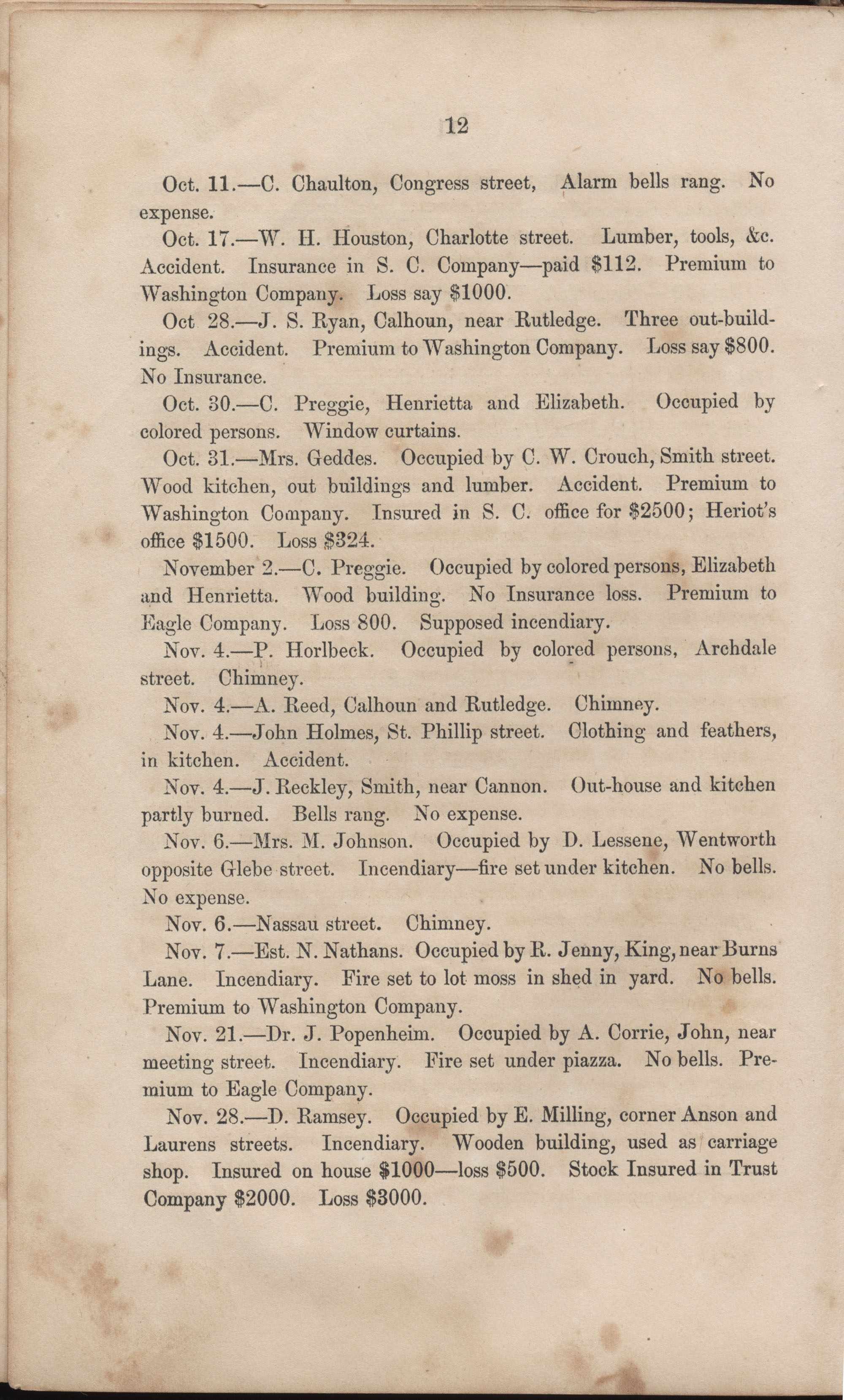 Annual Report of the Chief of the Fire Department of the City of Charleston, page 38