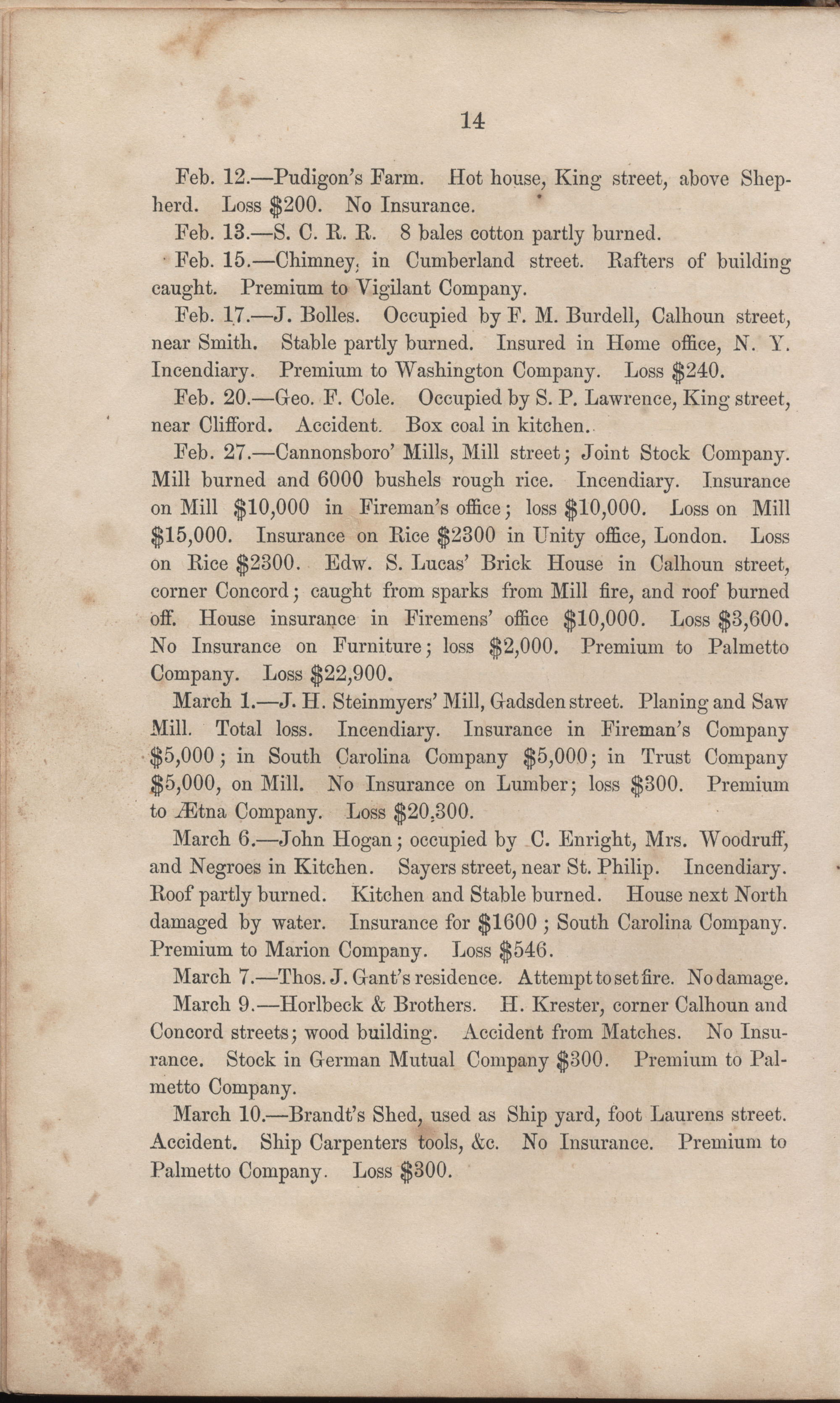 Annual Report of the Chief of the Fire Department of the City of Charleston, page 40