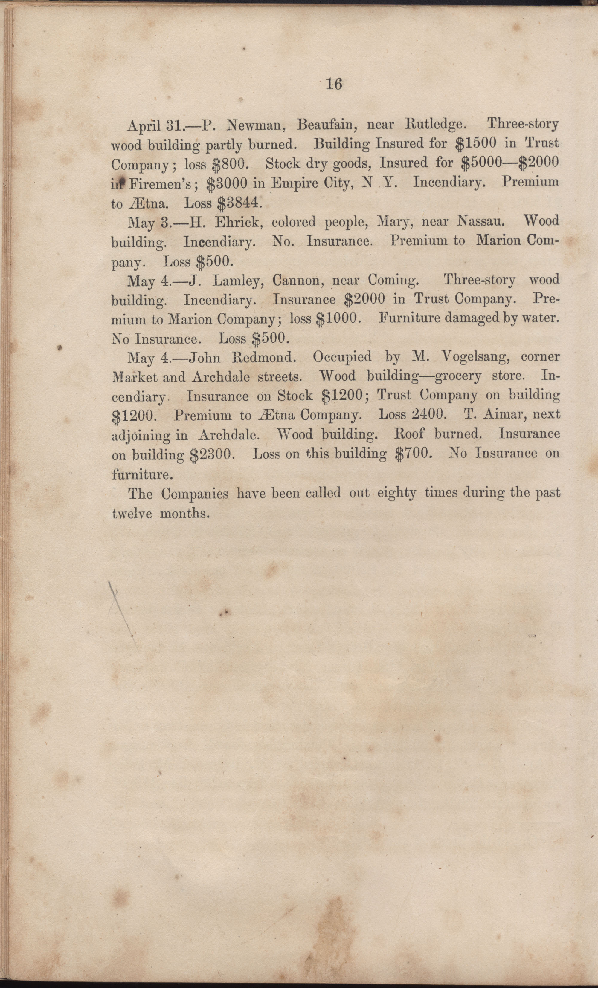 Annual Report of the Chief of the Fire Department of the City of Charleston, page 42
