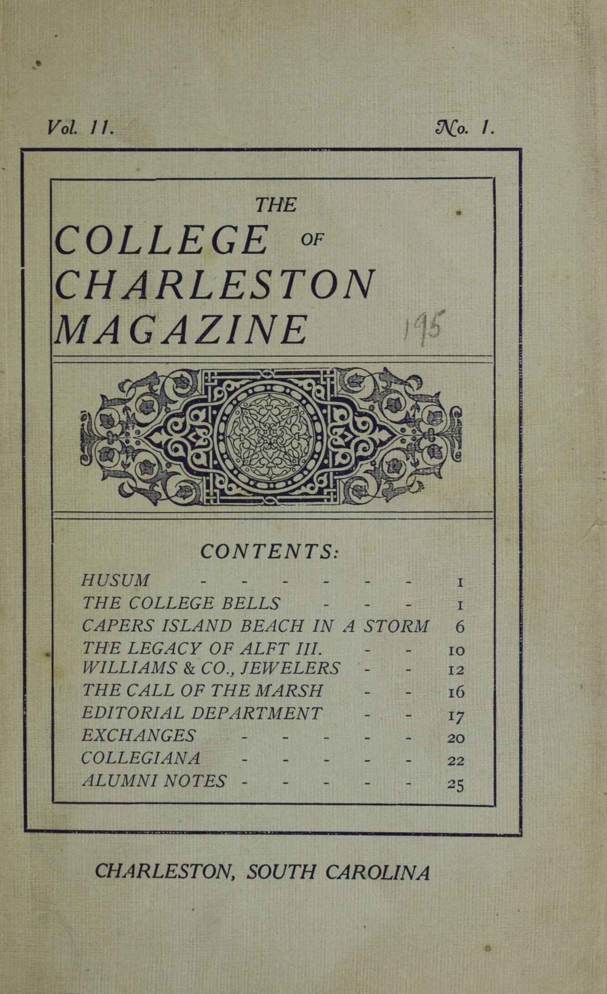College of Charleston Magazine, 1907-1908