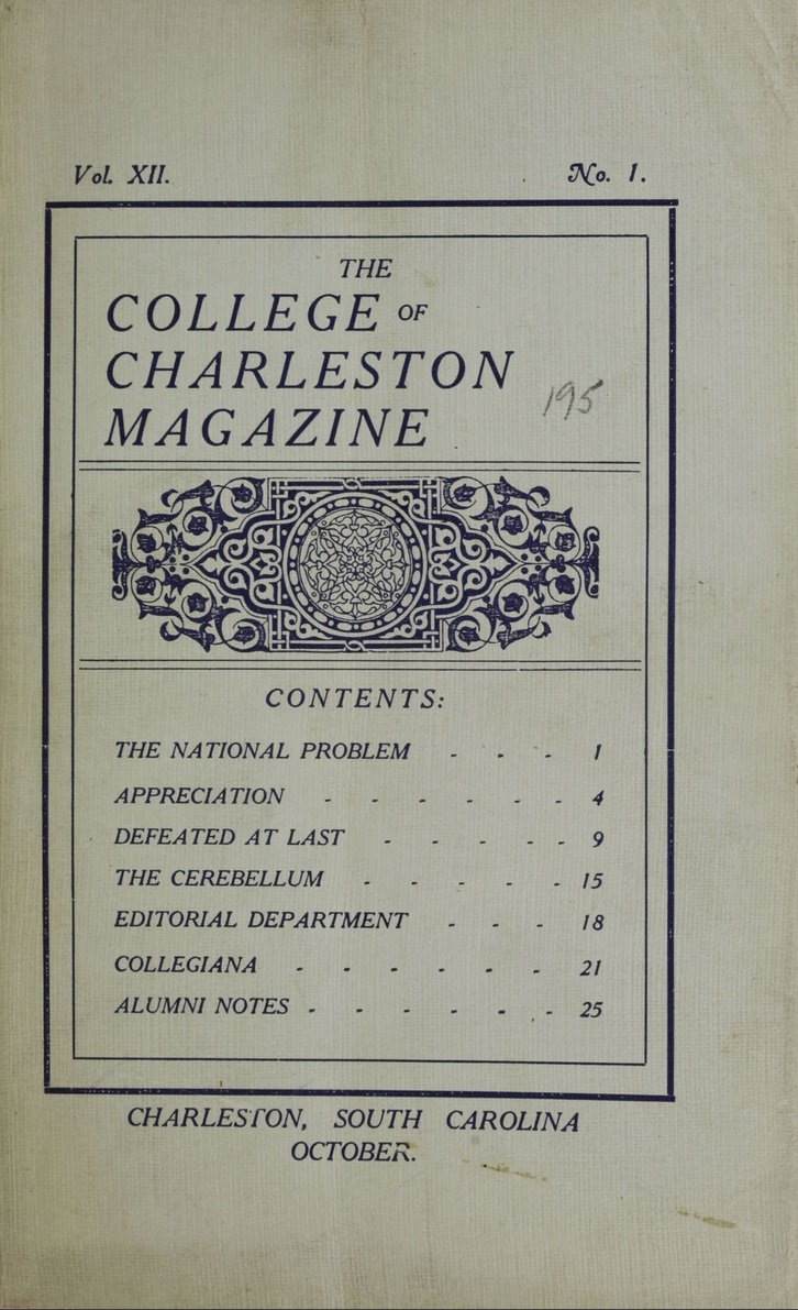 College of Charleston Magazine, 1908-1909